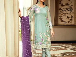 Embroidered Chiffon Party Dress