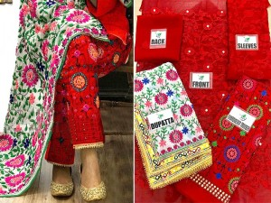 Heavy Embroidered Red Phulkari Chiffon Dress