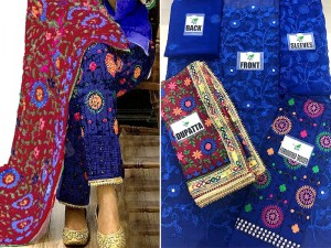 Heavy Embroidered Blue Phulkari Chiffon Dress Price in Pakistan