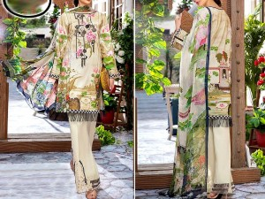 Embroidered Cambric Cotton Dress with Lawn Dupatta Price in Pakistan
