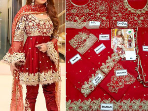 Embroidered Red Chiffon Bridal Dress Price in Pakistan