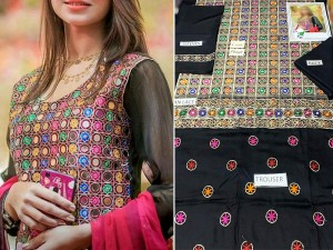 2-Pcs Heavy Embroidered Linen Dress with Embroidered Trouser Price in Pakistan