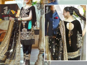 Heavy Embroidered Velvet Dress with Embroidered Net Dupatta