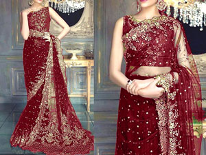 Designer Embroidered Maroon Chiffon Saree Price in Pakistan