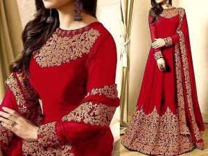 Indian Embroidered  Chiffon Red Maxi Dress Price in Pakistan