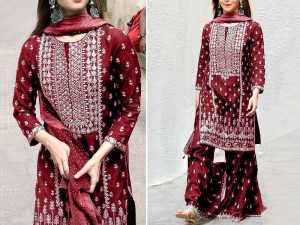 Embroidered Maroon Chiffon Party Dress Price in Pakistan