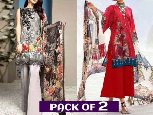 Pack of 2 Embroidered Linen Dresses with Chiffon Dupatta Price in Pakistan