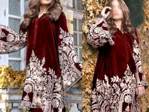 Heavy Embroidered Handwork Maroon Velvet Dress