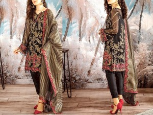 Heavy Embroidered Black Chiffon Dress with Organza Dupatta
