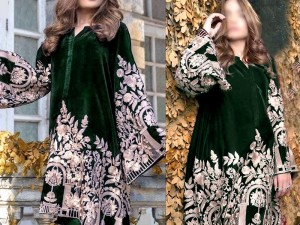 Heavy Embroidered Green Velvet Dress Price in Pakistan