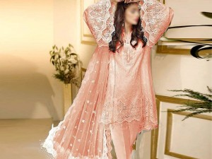 Elegant Peach Embroidered Net Wedding Dress with Inner Price in Pakistan