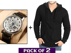 Men's Zip-Up Hoodie & Watch Combo Pack Price in Pakistan