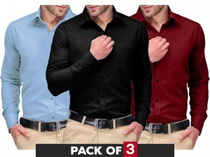 Pack of 3 Regular Fit Plain Shirts Price in Pakistan
