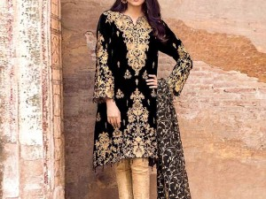 Embroidered Black Velvet Dress with Chiffon Dupatta
