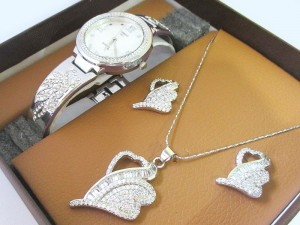Elegant Silver Jewellery & Watch Gift Set Price in Pakistan