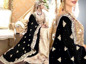 Heavy Embroidered Bridal Velvet Shawl - Black Price in Pakistan