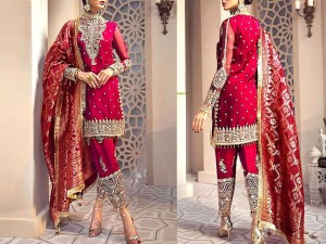Luxury Embroidered Chiffon Dress with Jacquard Dupatta Price in Pakistan