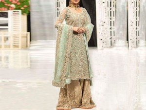 Handwork Heavy Embroidered Net Bridal Dress Price in Pakistan