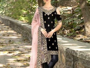 Embroidered Black Velvet Dress with Net Dupatta Price in Pakistan