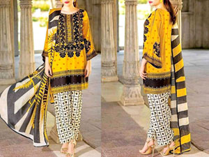 Trendy Embroidered Marina Linen Dress with Marina Dupatta