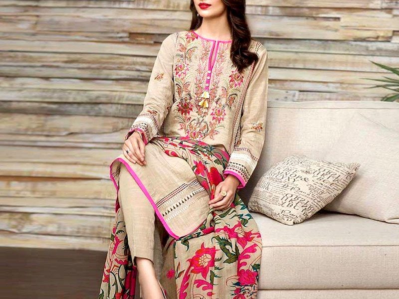 Heavy Panel Embroidered Khaddar Dress with Wool Shawl Dupatta