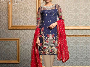 Embroidered Navy Blue Chiffon Wedding Dress Price in Pakistan