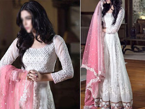Elegant Embroidered Net Maxi Dress with Net Dupatta & Inner Price in Pakistan