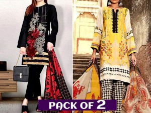 Pack of 2 Embroidered Linen Dresses with Wool Shawl Dupatta Price in Pakistan