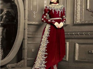 Indian Embroidered Maroon Chiffon Frock Price in Pakistan