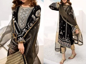 Luxury Embroidered Black Velvet Dress with Organza Dupatta