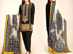 Embroidered Black Marina Dress with Wool Shawl Dupatta Price in Pakistan