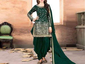 Mirror Work Green Embroidered Chiffon Party Dress Price in Pakistan