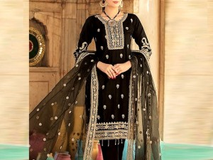 Heavy Embroidered Black Chiffon Wedding Dress