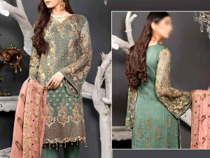 Heavy Embroidered Chiffon Wedding Dress Price in Pakistan