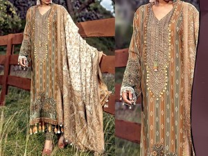 Heavy Embroidered Marina Dress with Wool Shawl Dupatta Price in Pakistan