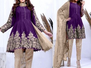 Embroidered Purple Chiffon Dress with Net Dupatta Price in Pakistan