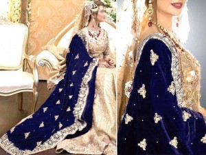 Heavy Embroidered Bridal Velvet Shawl - Navy Blue Price in Pakistan