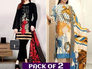 Pack of 2 Embroidered Linen Dresses with Wool Shawl Dupatta