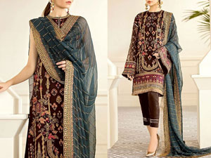 Heavy Embroidered Brown Chiffon Wedding Dress Price in Pakistan