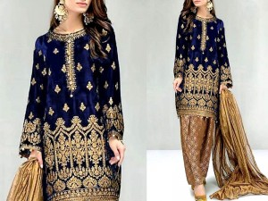 Embroidered Navy Blue Velvet Dress with Jamawar Trouser Price in Pakistan