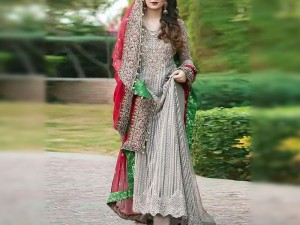Heavy Embroidered Chiffon Bridal Dress with Embroidered Dupatta
