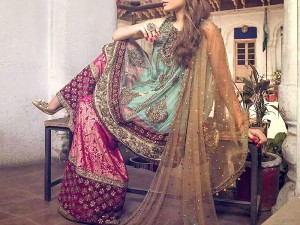 Pukhraj Embroidered Chiffon Bridal Dress with Jamawar Trouser Price in Pakistan