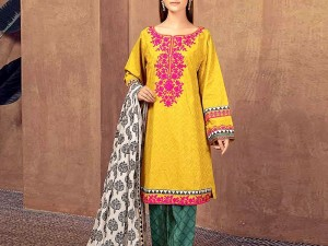 Embroidered Lawn Dress 2020 with Chiffon Dupatta