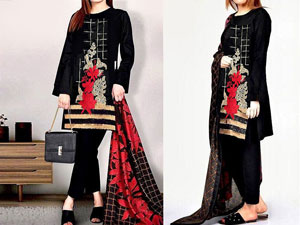 Embroidered Black Lawn Dress with Chiffon Dupatta