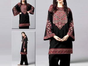 2-Pcs Heavy Embroidered Black Linen Dress