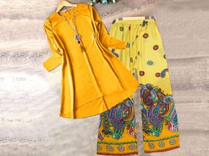 2-Pcs Readymade Boski Linen Kurti with Trouser