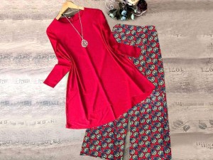 2-Pcs Readymade Boski Linen Kurti with Cotton Trouser