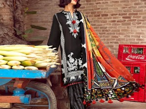 Embroidered Black Lawn Suit with Chiffon Dupatta