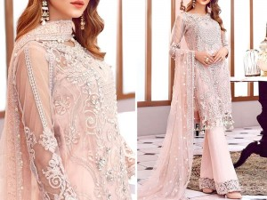 Heavy Handwork Embroidered Chiffon Dress with Net Dupatta