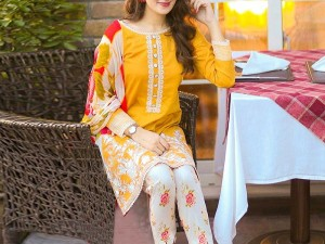 2-Pcs Sequins Embroidered Lawn Dress with Embroidered Trouser